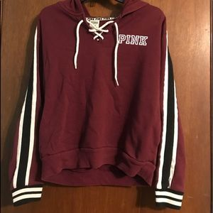 Pink brand medium size crop top hoodie